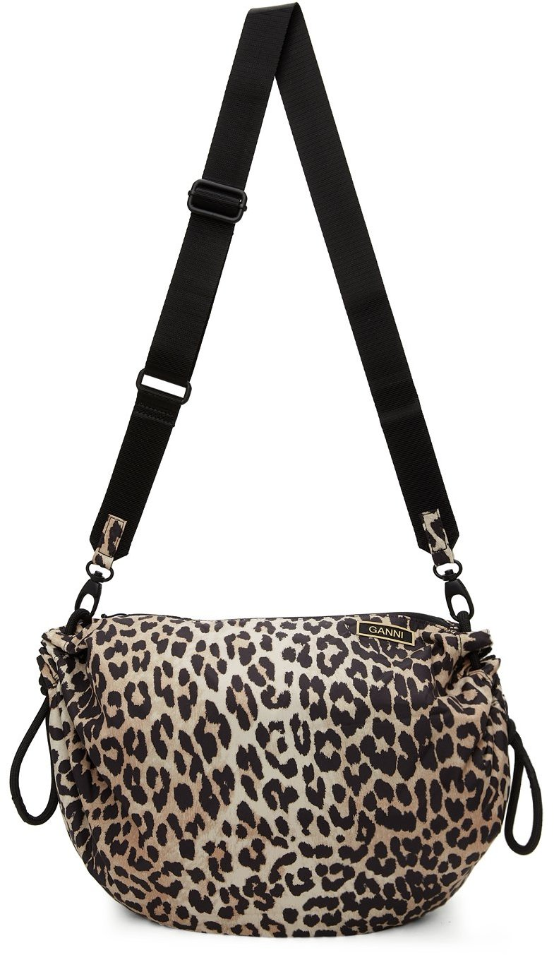 Brown Leopard Recycled Tech Drawstring Bag