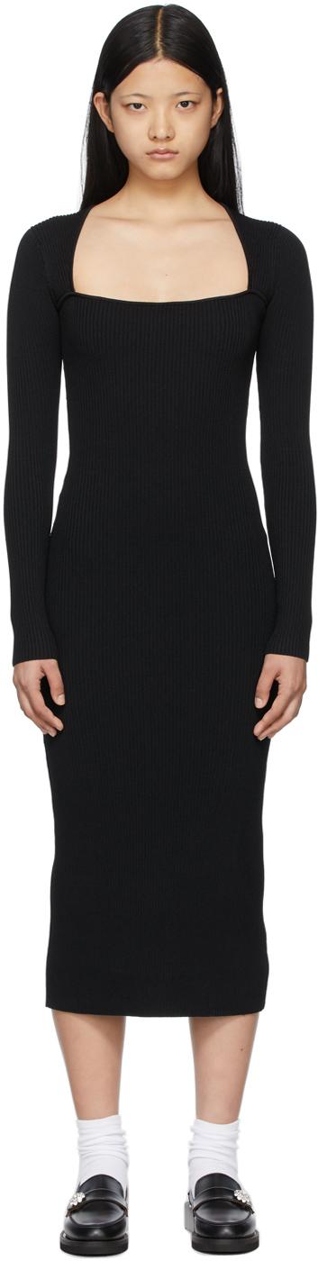 Black Melange Knit Mid-Length Dress