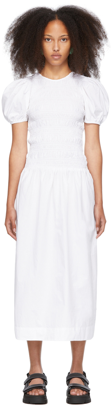 White Cotton Poplin Shirred Dress