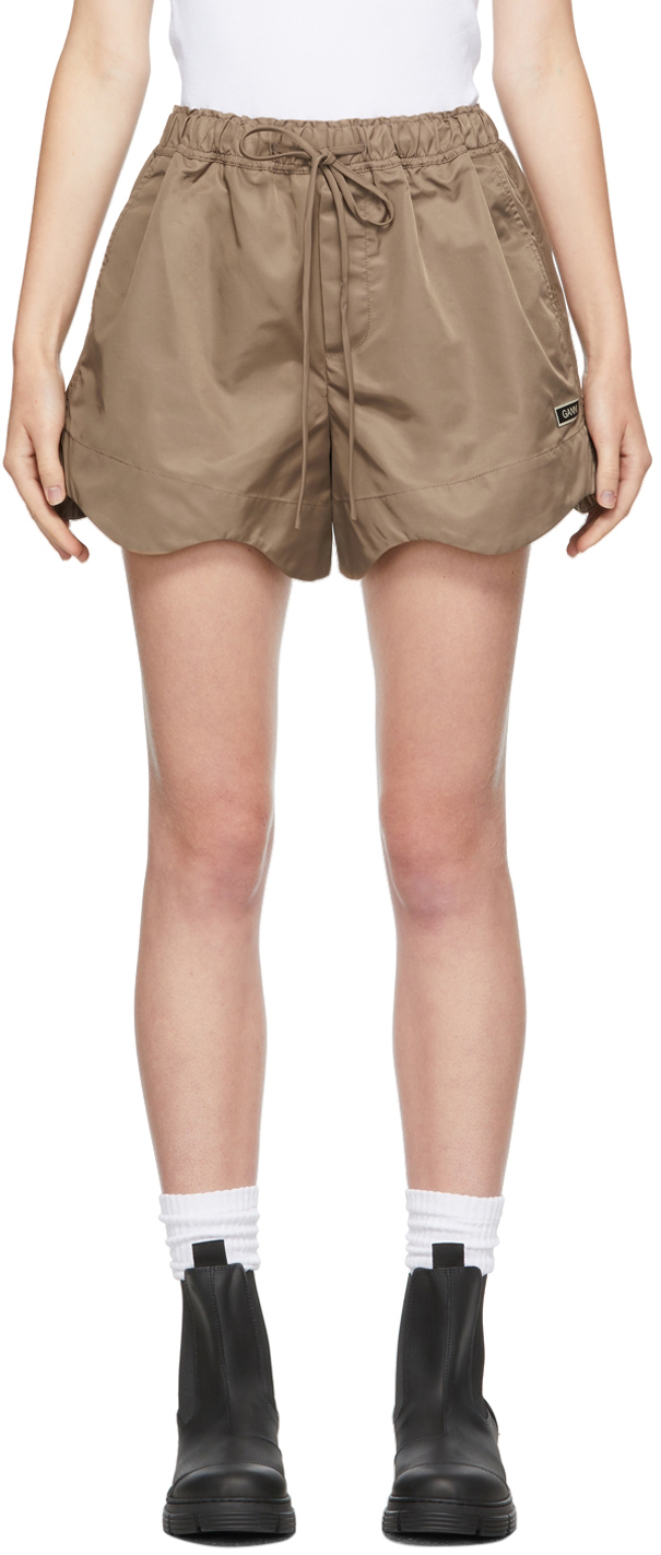 Brown Recycled Nylon Shorts