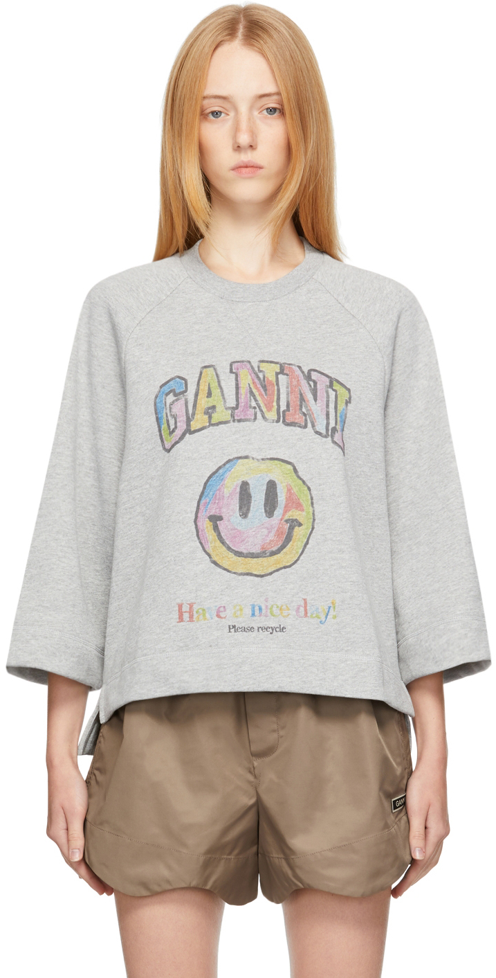 Grey Recycled Cotton Smiley Isoli Sweater