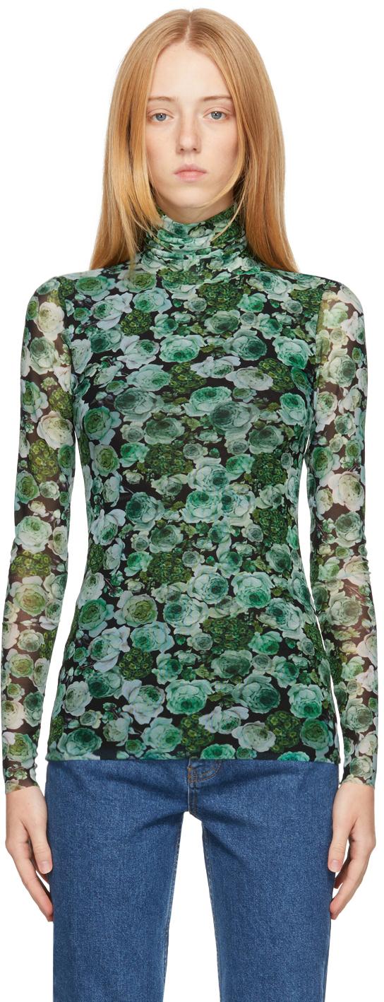 Green Mesh Floral Turtleneck
