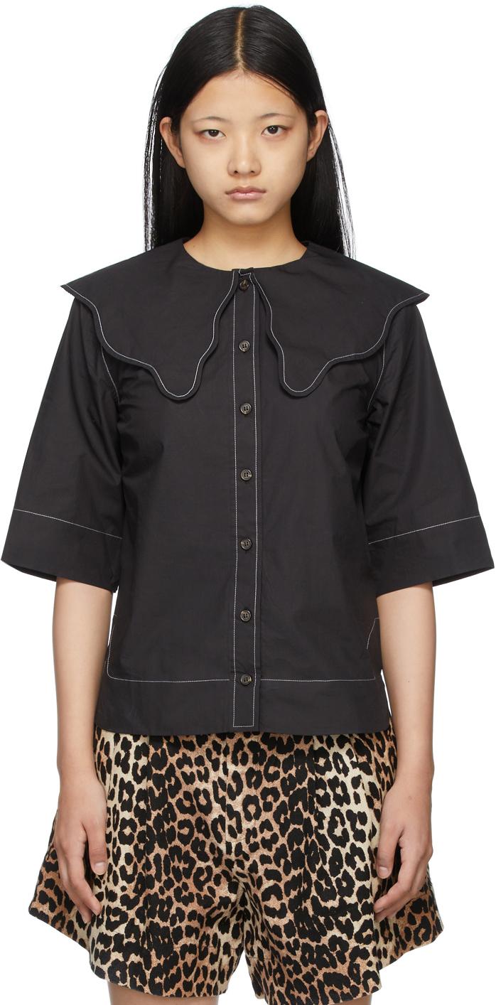Black Collared Short Sleeve Shirt