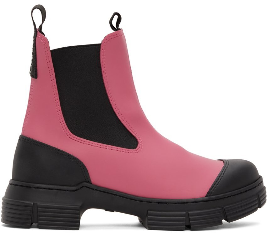 Pink & Black Recyled Rubber Chelsea Boots