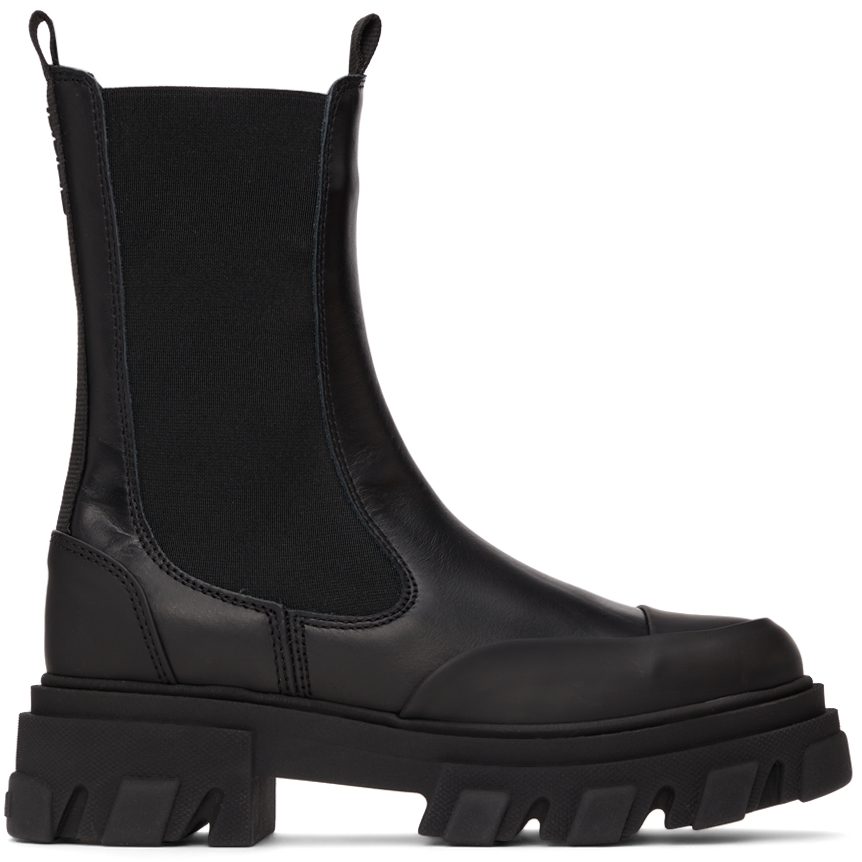 Black Leather Mid-Calf Boots