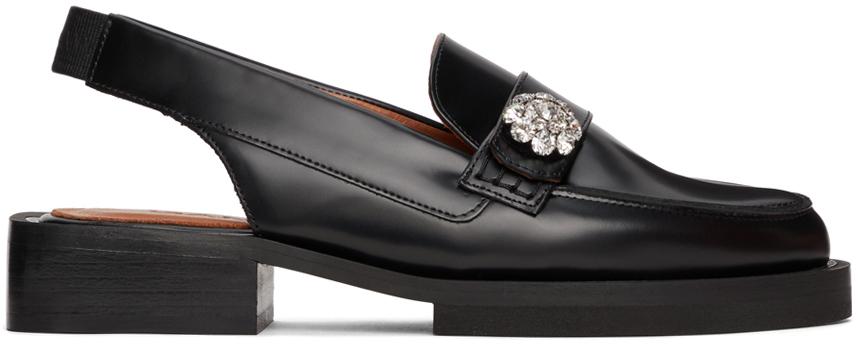 Black Brush Off Slingback Loafers
