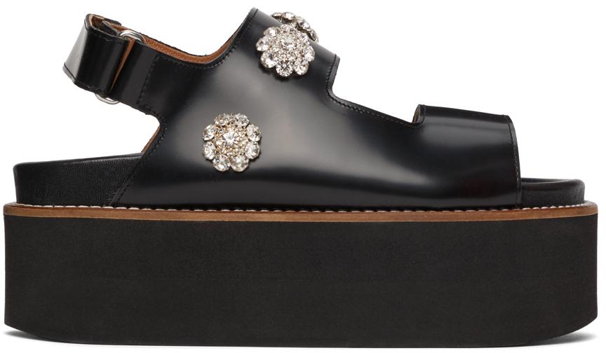 Black Polido Deco Platform Sandals