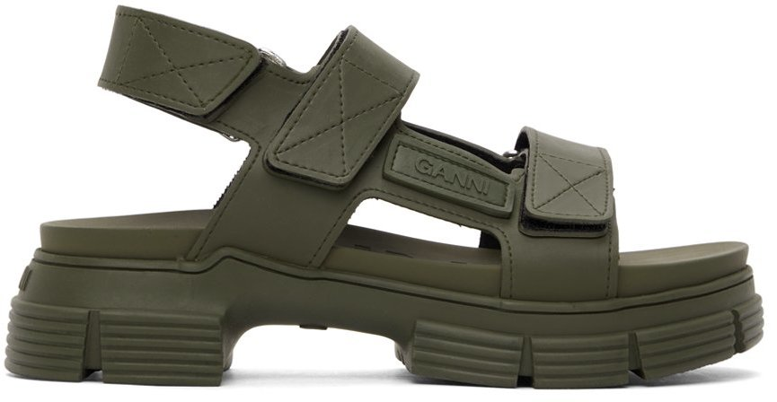 Khaki Recycled Rubber Velcro Sandals