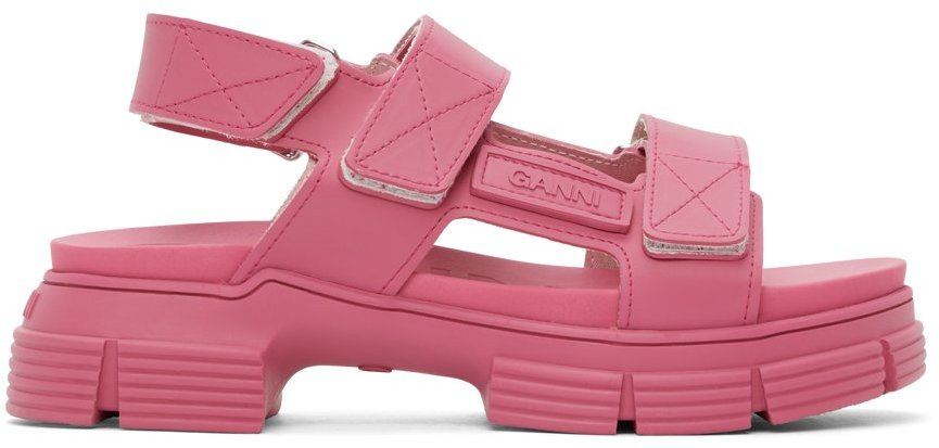 Pink Recycled Rubber Velcro Sandals