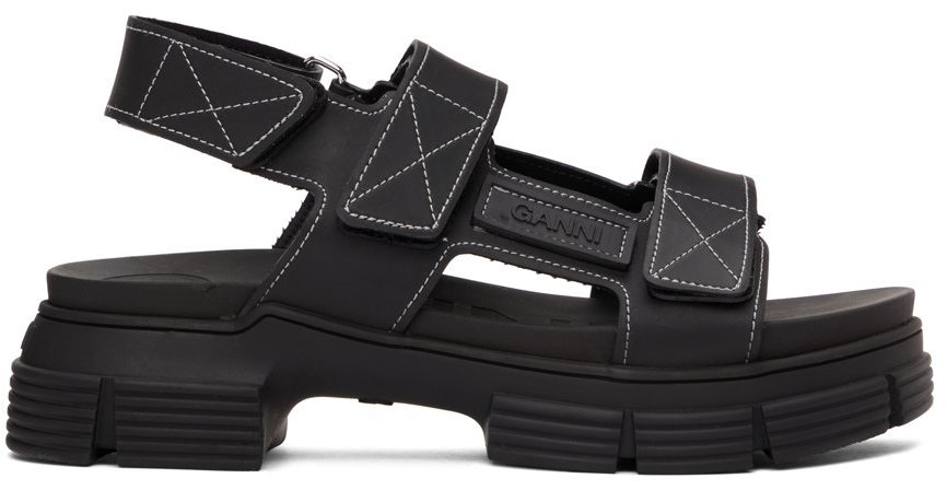 Black Recycled Rubber Velcro Sandals