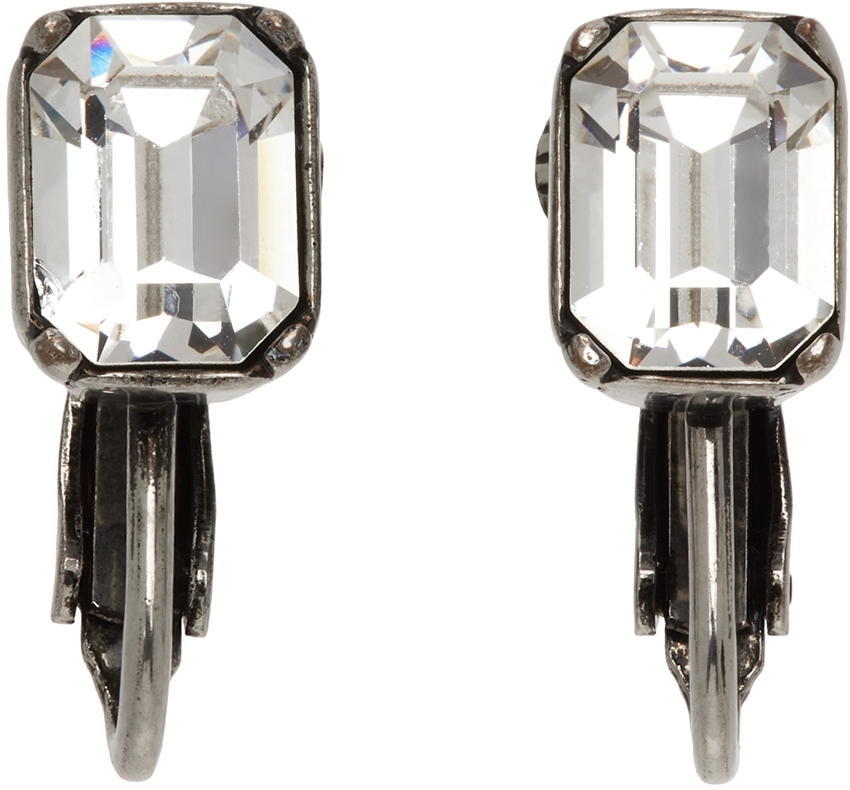 Silver Crystal Clip-On Earrings