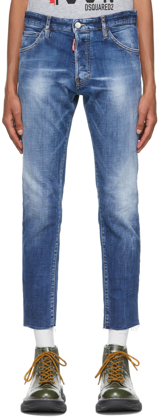 Blue Cool Guy Cropped Jeans