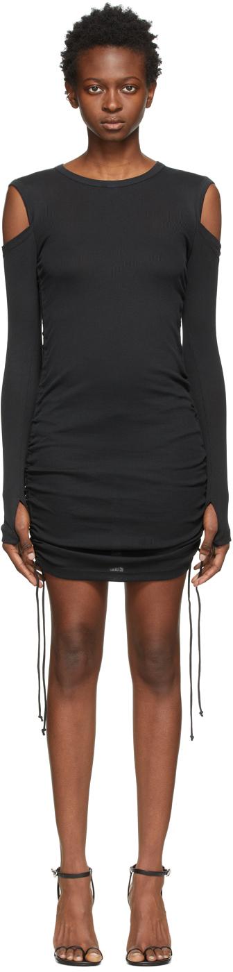 Black Ribbed Lacing Dress