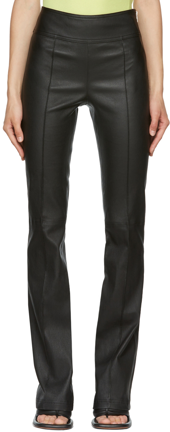 Black Leather Bootcut Trousers