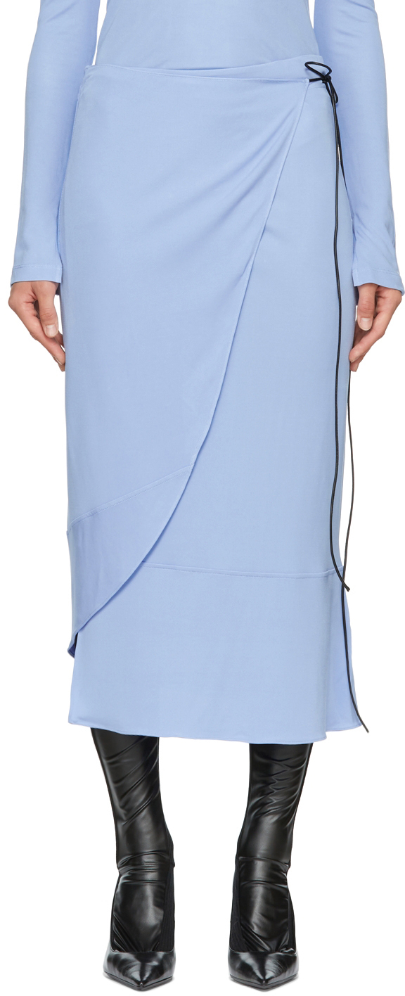 Blue Wrap Mid-Length Skirt