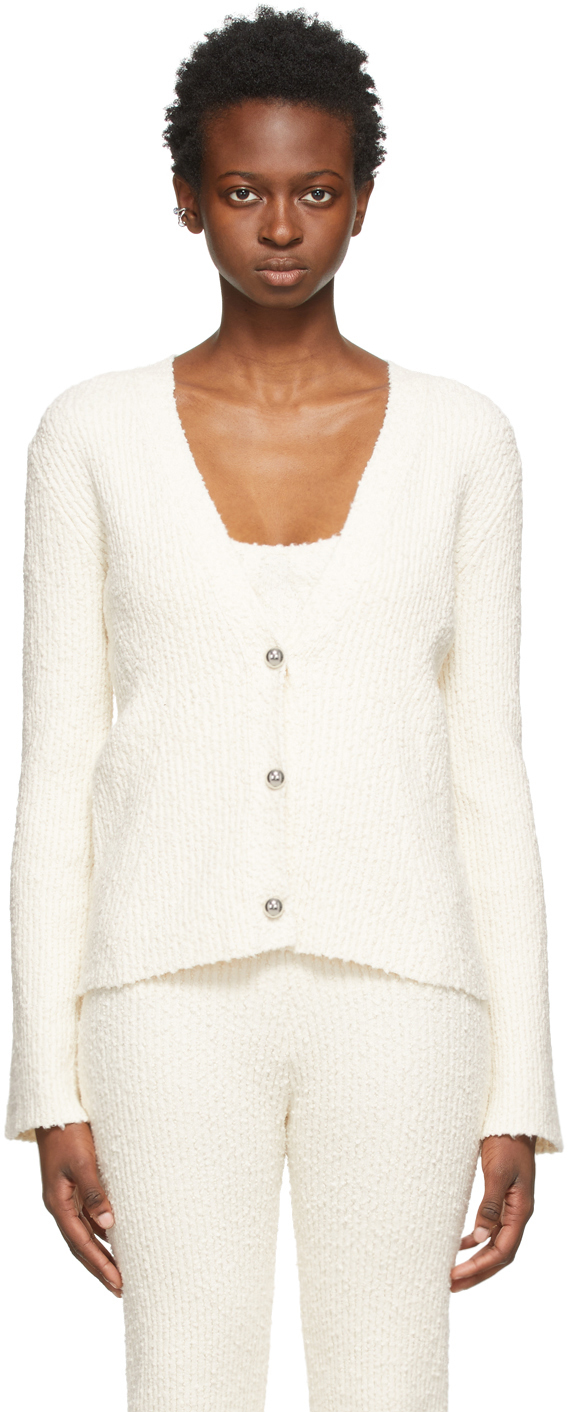 Off-White Bouclé Ribbed Cardigan