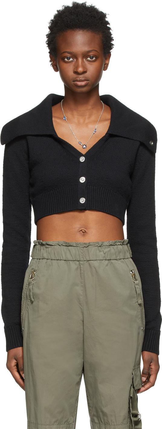 Black Wool Cropped Cardigan