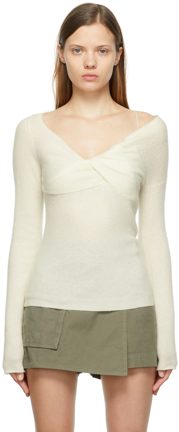 Off-White Wool Off-The-Shoulder Sweater