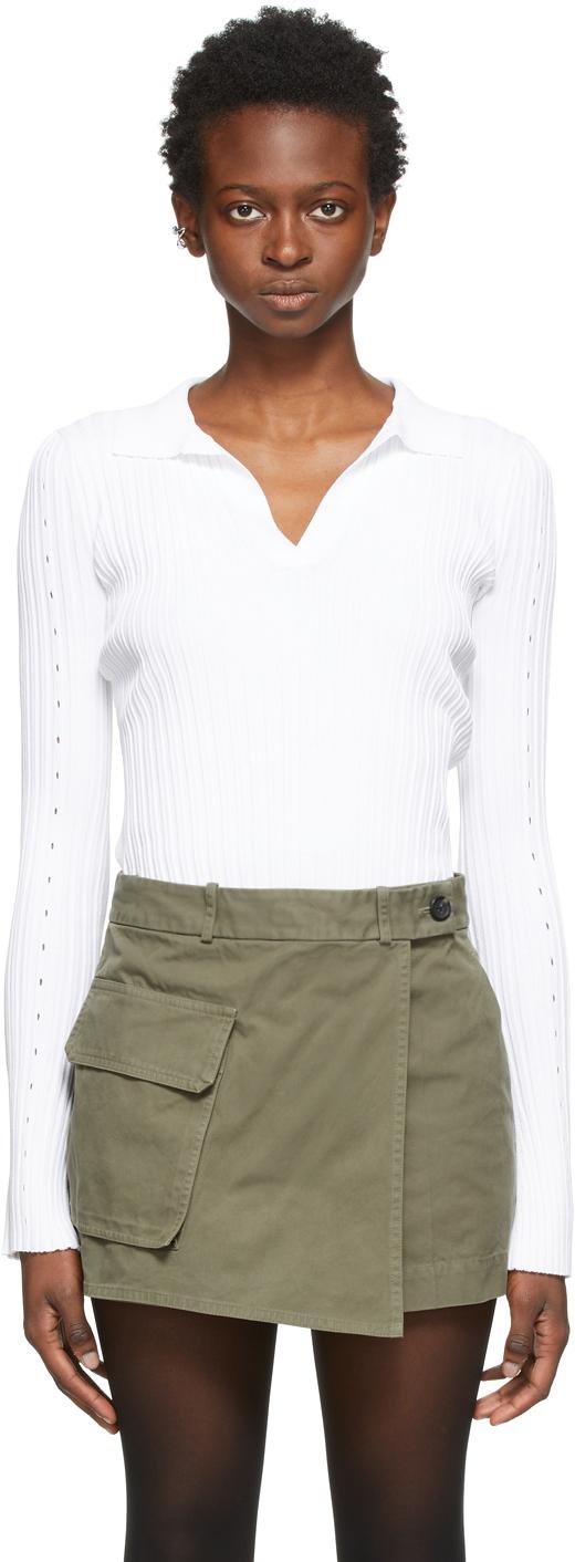 White Knit Slash Long Sleeve Polo