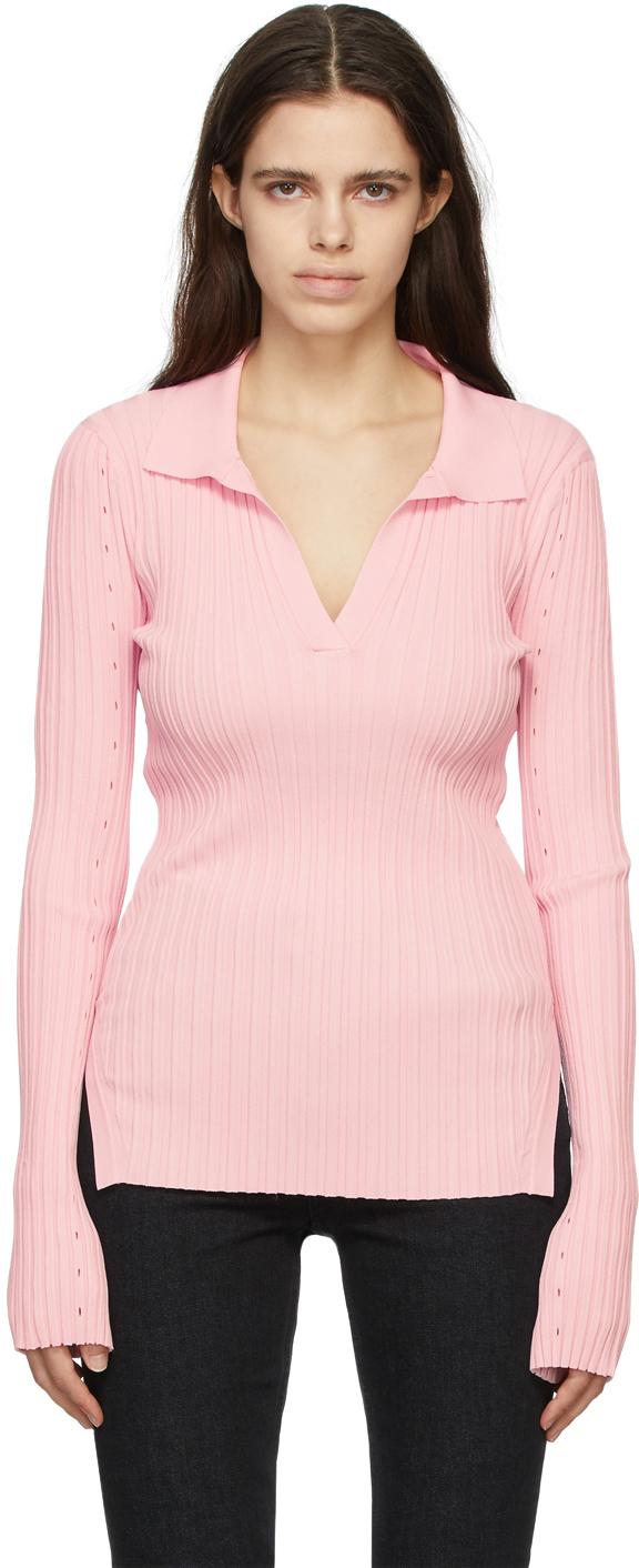 Pink Knit Slash Polo