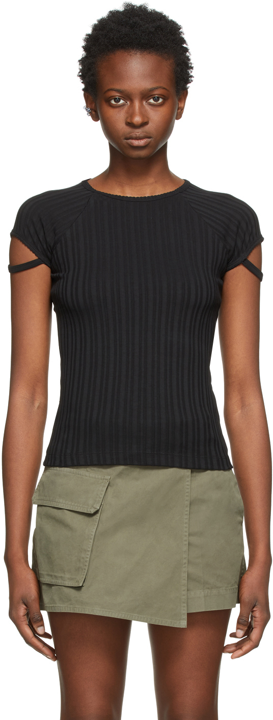 Black Little Ribbed T-Shirt
