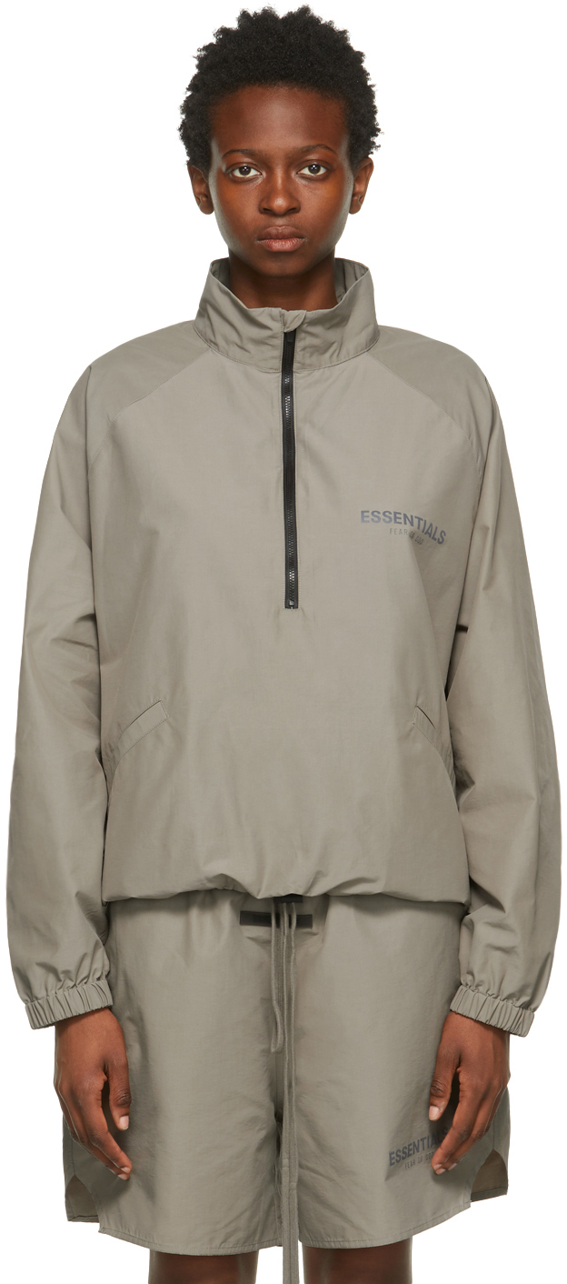 Taupe Half-Zip Track Jacket