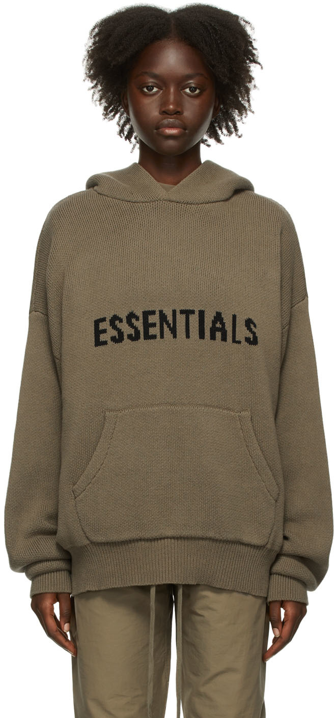 Taupe Knit Pullover Hoodie