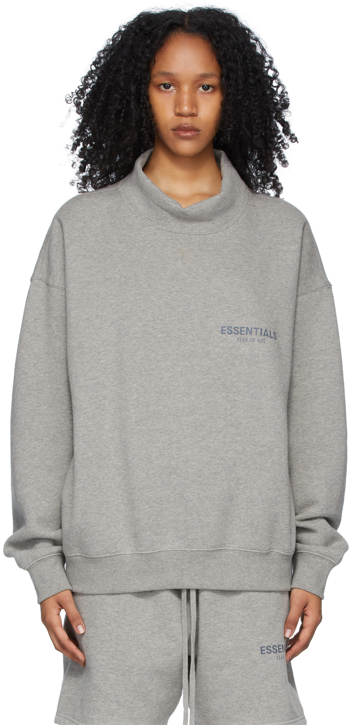 Grey Pullover Mock Neck Sweatshirt
