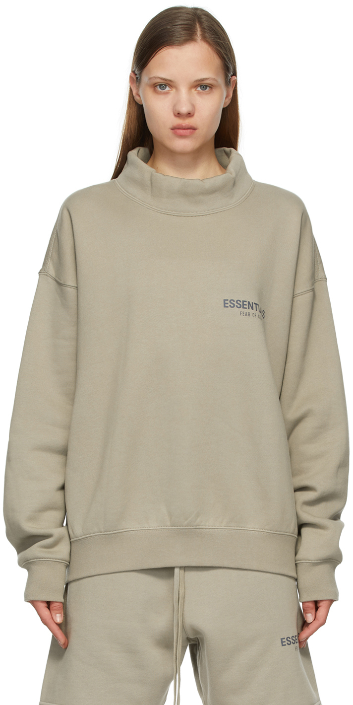 Grey Mock Neck Pullover Sweatshirt