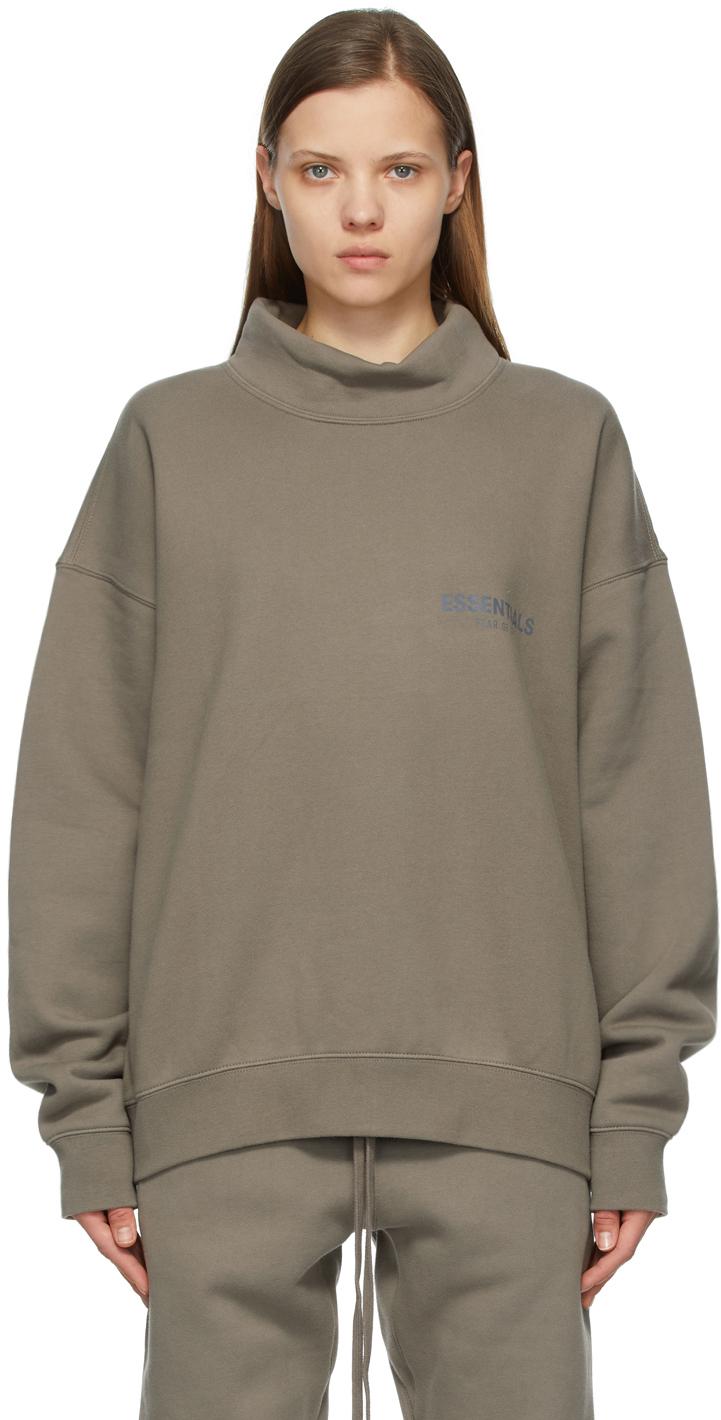 Taupe Mock Neck Pullover Sweatshirt