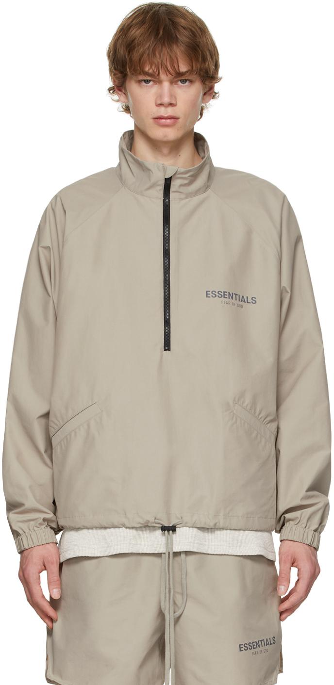 Essentials Grey Half-Zip Track Jacket