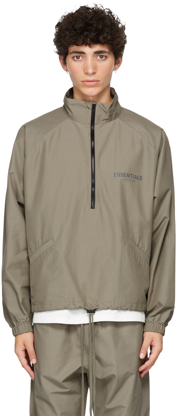 Essentials Taupe Half-Zip Track Jacket