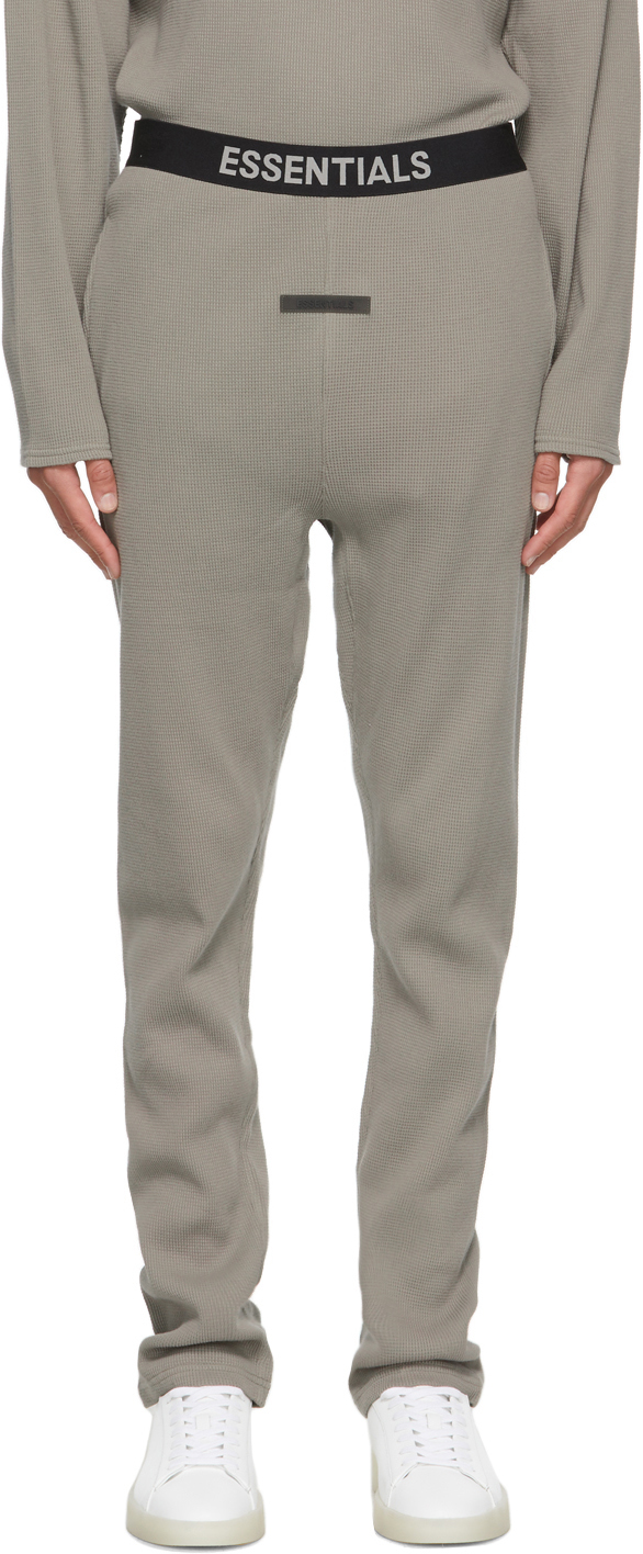 Essentials Grey Thermal Waffle Logo Lounge Pants
