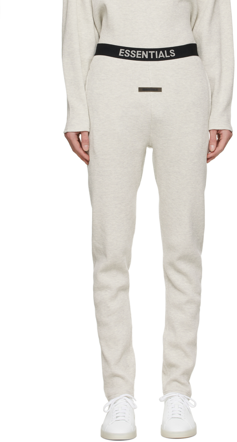 Essentials Off-White Thermal Waffle Logo Lounge Pants