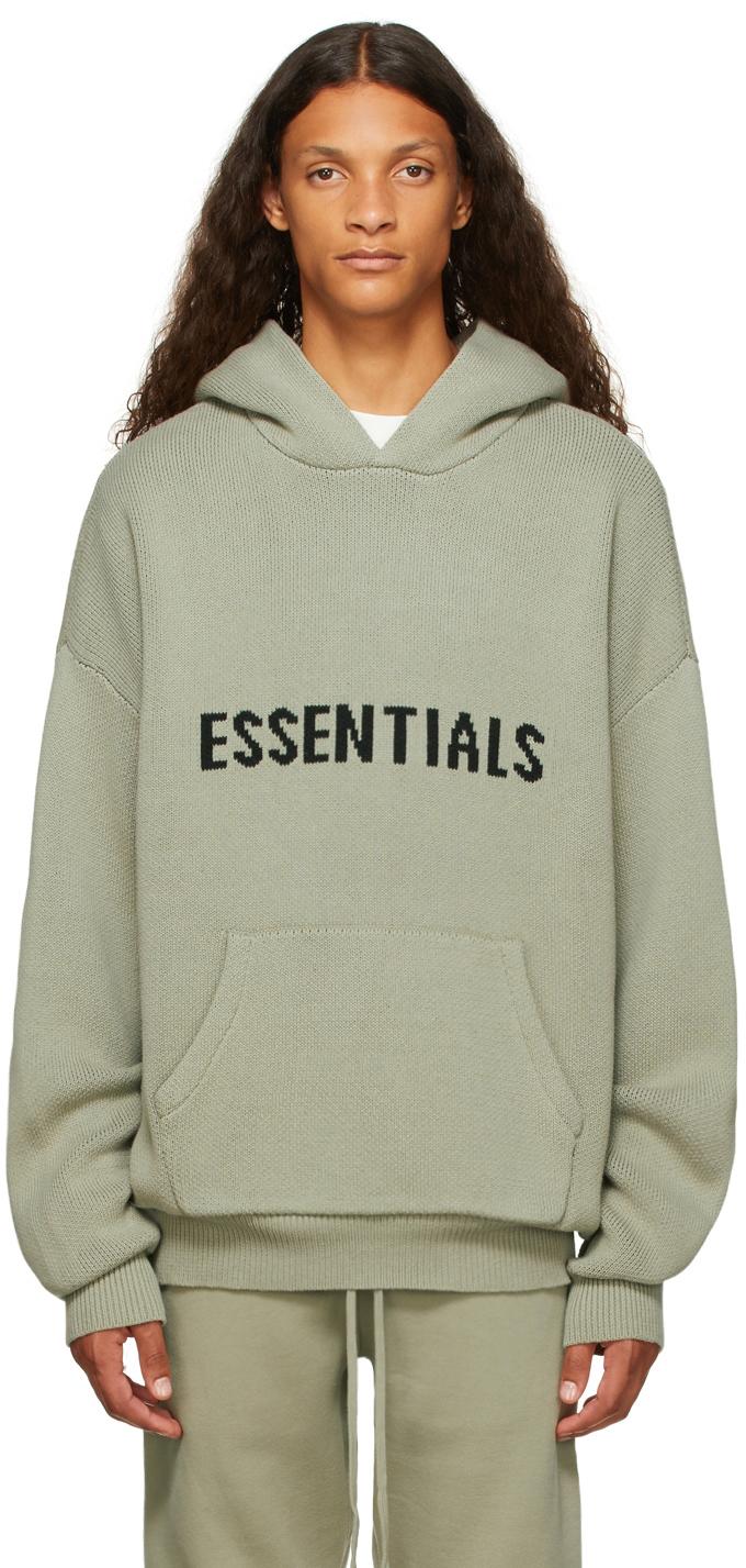 Essentials Green Knit Hoodie