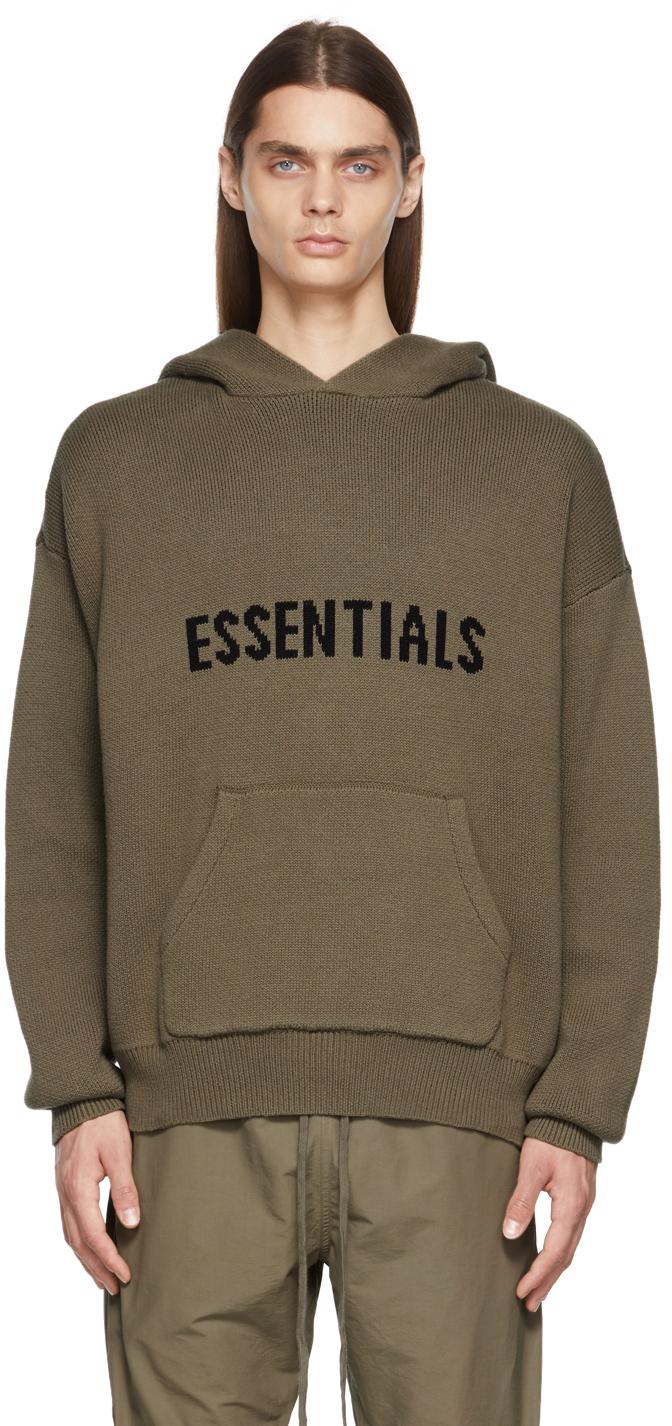 Essentials Taupe Knit Hoodie