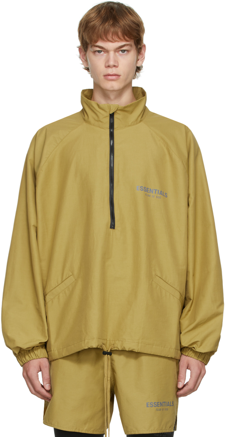 Essentials Green Half-zip Track Jacket In Amber