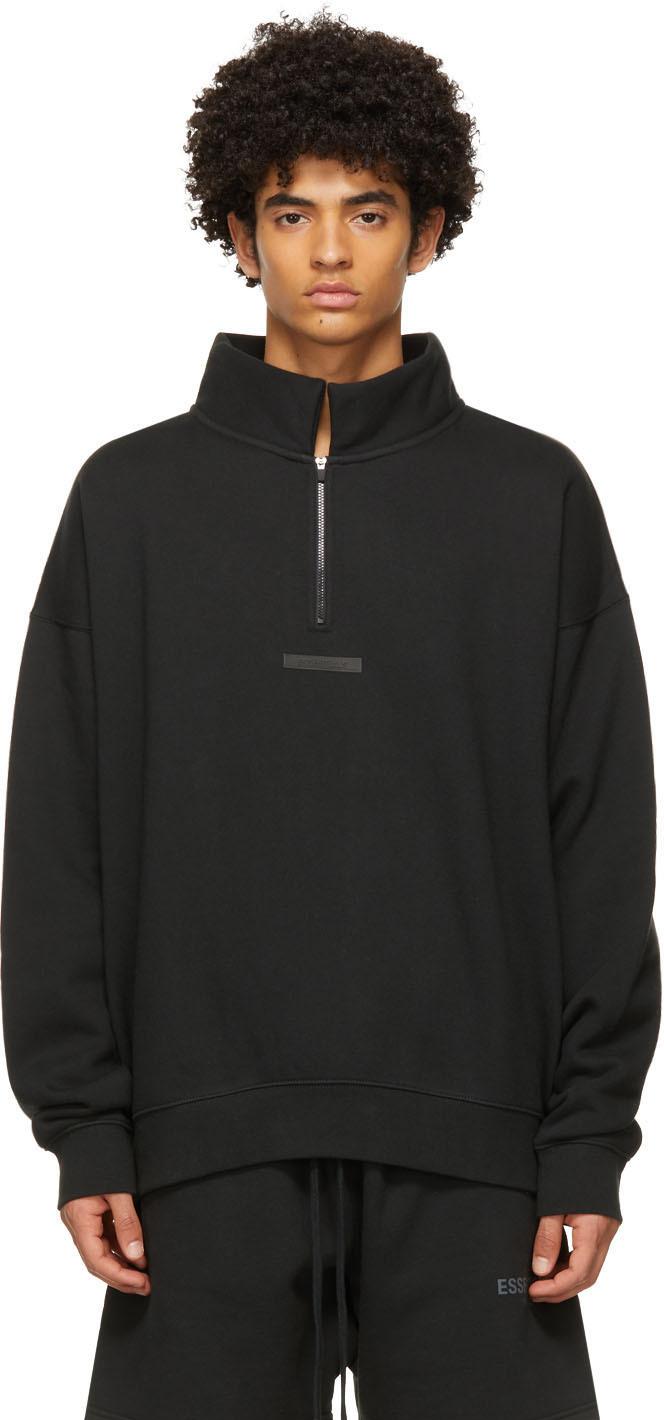 Essentials Black Mock Neck Half-Zip Sweatshirt