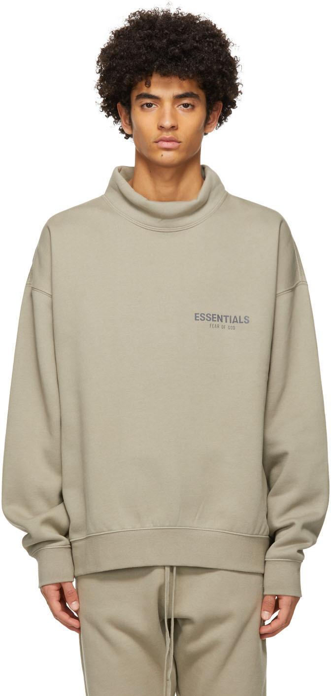 Essentials Grey Pullover Mock Neck Sweatshirt
