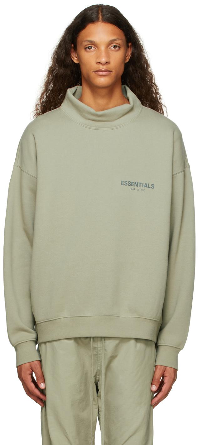 Essentials Green Mock Neck Sweatshirt