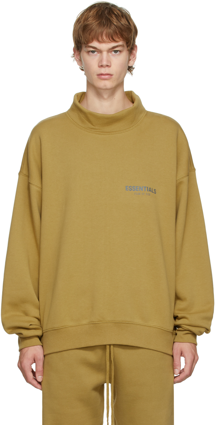 Essentials Khaki Mock Neck Sweatshirt