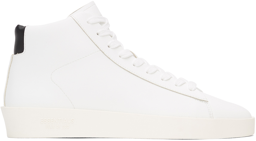 Essentials White Tennis Mid Sneakers