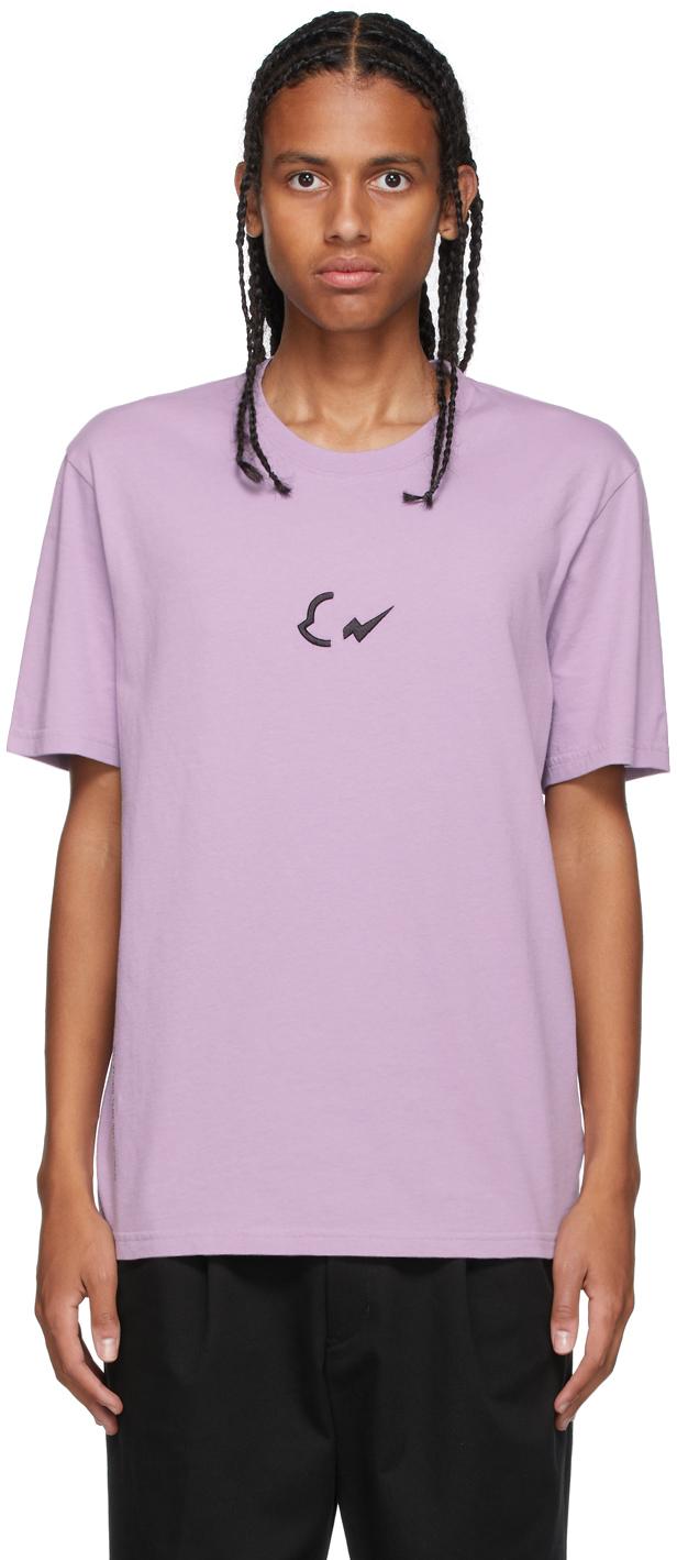 7 Moncler FRGMT Hiroshi Fujiwara Purple Embroidered Logo T-Shirt