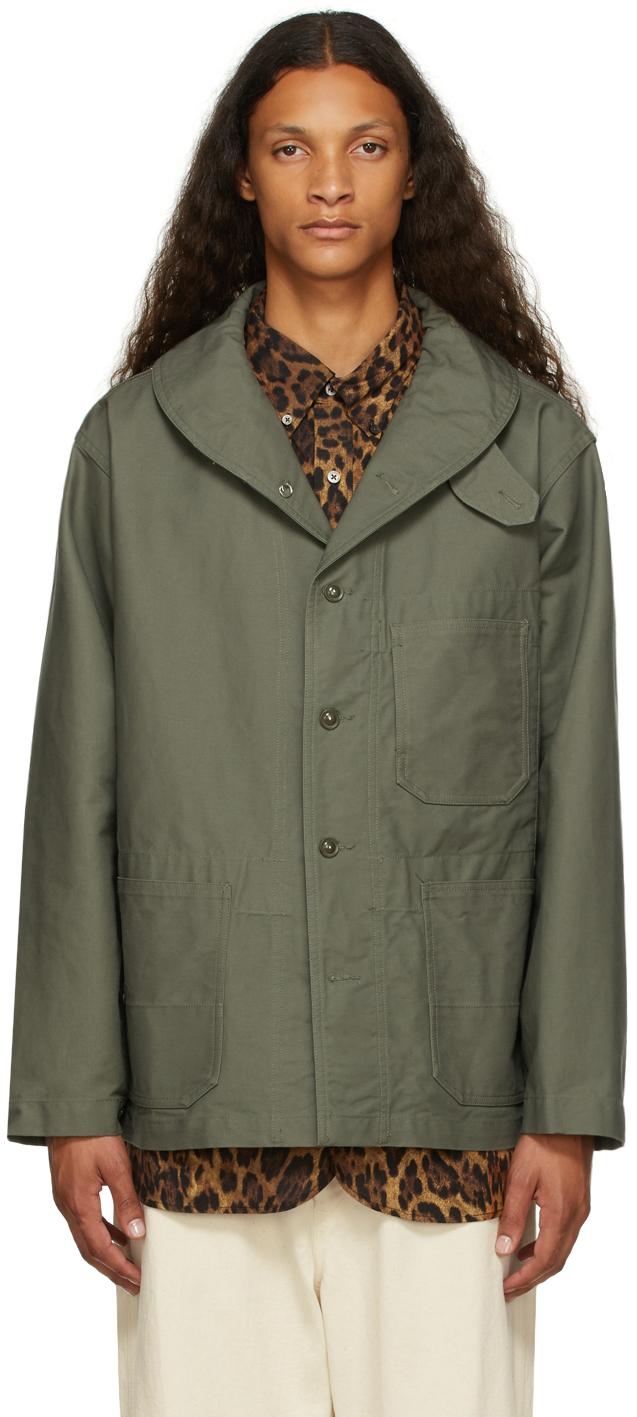 Khaki Cotton Shawl Neck Jacket