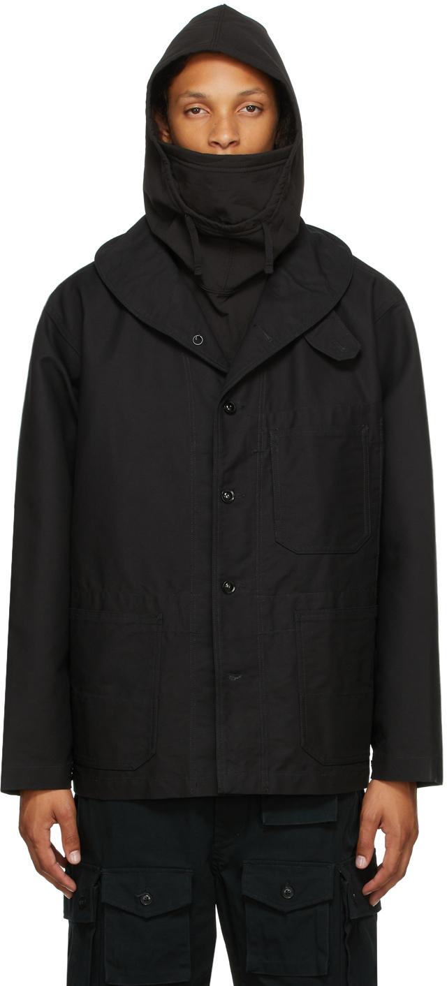 Black Cotton Shawl Neck Jacket