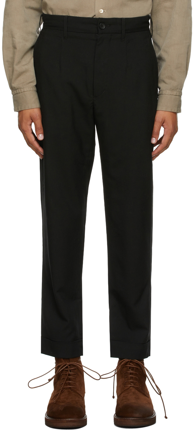 Black Wool Andover Trousers
