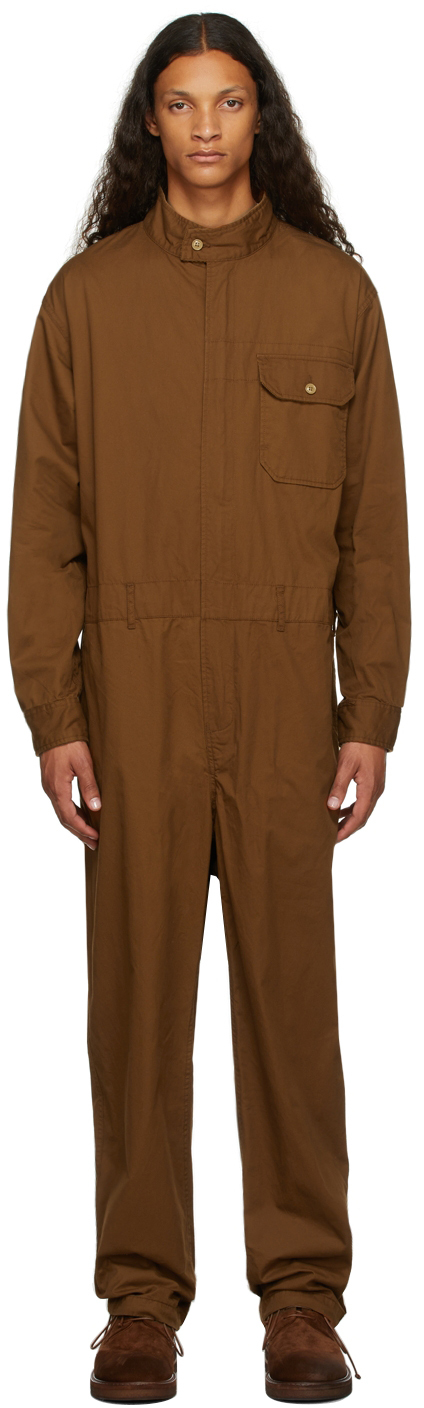 Brown Twill Racing Jumpsuit