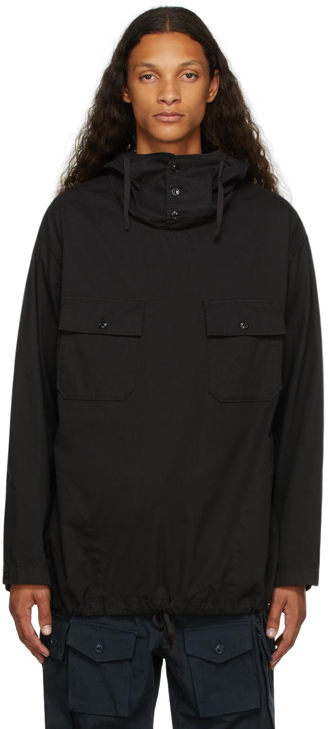 Black Twill Hooded Shirt