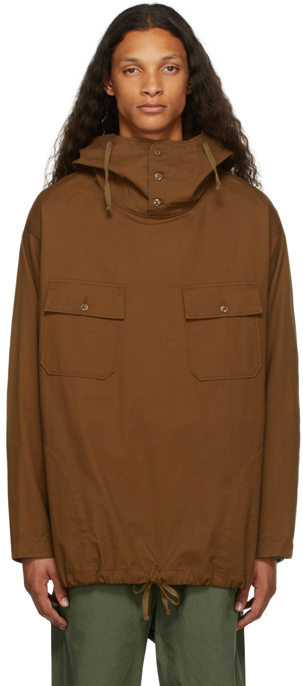 Brown Twill Hooded Shirt