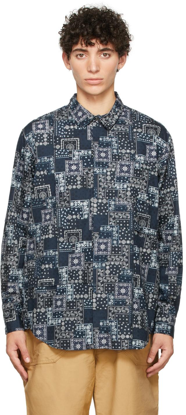 Navy Bandana Patchwork Shirt